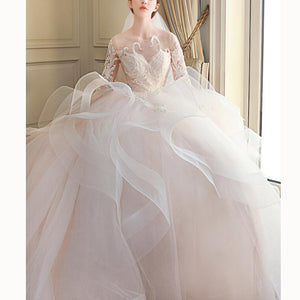2c0947929c8 Gorgeous Ball Gown Poofy Wedding Gown Lace Bridal Dresses 2018 Vestido De  Novias withSleeves