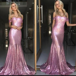Hot Off the Shoulder Sequin Prom Dress Pink Mermaid Evening Dress Gown for Party 2018 LP6630