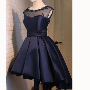 Navy Scoop Neck High Low Prom Dress Short  A Line Satin Party Gown Girls Graduation Dress 2018