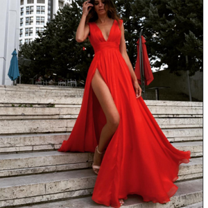 Gorgeous Red Dresses Prom Long Gown Sexy Split Deep V neck Evening Party Gown 2020