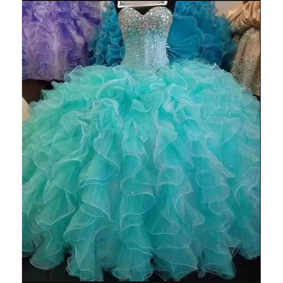 Amazing Ruffle Organza Crystal Ball Gown Turquoise Quinceanera Dress Girls Sweet 16 Party Gown Debutante Gown