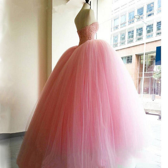 Pink  Quinceanera Dress Princess Corset Beaded Debutante Gown Sweet 16 Dress Wedding Gown