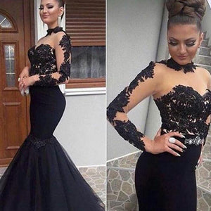 Fitted and Flare Sexy See Through  Black Evening Dresses Mermaid  Women Long Lace Prom Dresses Long Vestido De Festa