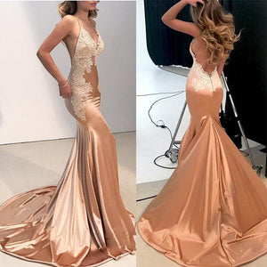 Rose Gold Satin Lace Evening Dress Long Party Gown Mermaid Prom Dresses 2018