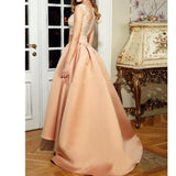Scoop Neck High Low Prom Dress A Line Coral Satin Lace Appliqued Girls Party Dress