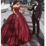 Off Shoulder Burgundy Wine Ball Gown Wedding Dress Lace Appliqued Off Shoulder Bridal Reception Gown WD7705