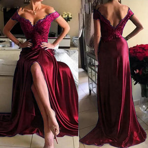 Off Shoulder Red Wine Lace Prom Dresses Long Sexy Slit Women Formal Gown  vestido de gala