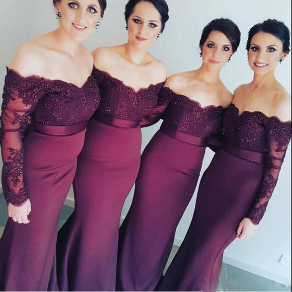 Burgundy Off Shoulder Women Bridesmaid Dresses Long Mermaid Formal Wedding Party Gown Maid of Honor dress