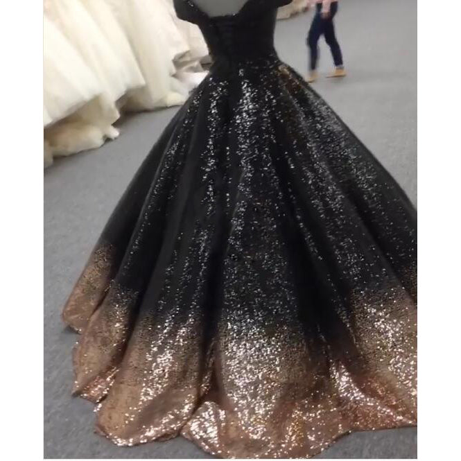 ... Bling Bling Sequins Gold Black Ball Gown Prom Dresses Off Shoulder  Formal Evening gown masquerade ... 5b44daefa