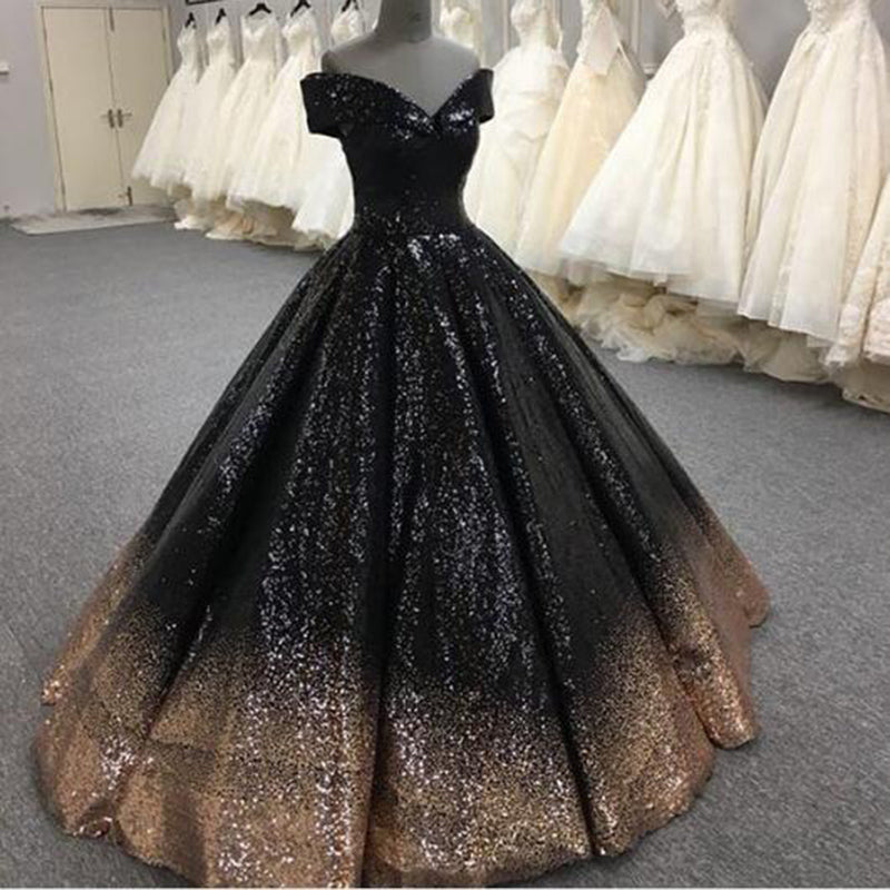 a5140d8c4d67e Bling Bling Sequins Gold/Black Ball Gown Prom Dresses Off Shoulder Formal  Evening gown masquerade ...