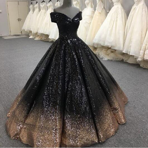 Bling Bling Sequins Gold/Black Ball Gown Prom Dresses Off Shoulder Formal Evening gown masquerade LP7752