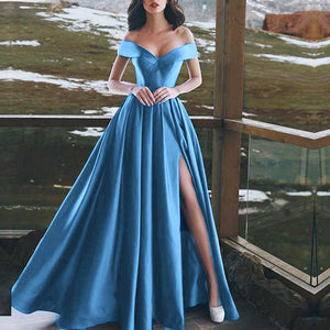 Sky Blue Off Shoulder Sexy Slit Prom dress 2018 A Line Formal Evening Long Dress for Party