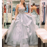 Silver Strapless Ball Gown Prom Dress Ball Gown Sweetheart Beaded Quinceanera Dress LP0542