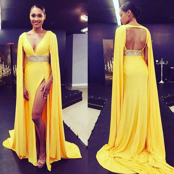 Yellow  Formal Prom Dresses Arabic Long Evening Dress 2018 Deep V neck High Leg Slit Sexy Evening Gowns New Arrival Beading abendkleider