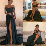 Dark Green lace Prom Dress with Slit Long Party Dresses women Gown Vestido De Festa LP0420