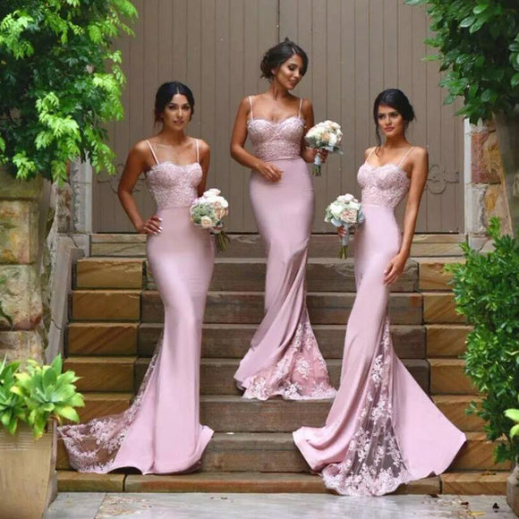Chic Pink Lace  Bridesmaid Dresses Long Mermaid  Spaghetti Straps Backless Maid of the Honor Wedding Party Dresses Custom Made LP623