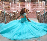 Cap Sleeves Turquoise Blue Quinceanera Dress Lace Ball Gown Cinderella Dress
