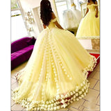 Gorgeous Yellow Quinceanera Dresses  Flowers Tulle Off The Shoulder Princess Sweet 16 Dress Masquerade Wedding Gown LP0520