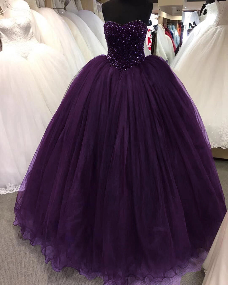 Purple Ball Gown Beading Wedding Dresses Debutante Gown Pl810