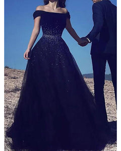 Navy Blue Women Formal  Prom Dresses Long With Beading Off the Shoulder PL5549
