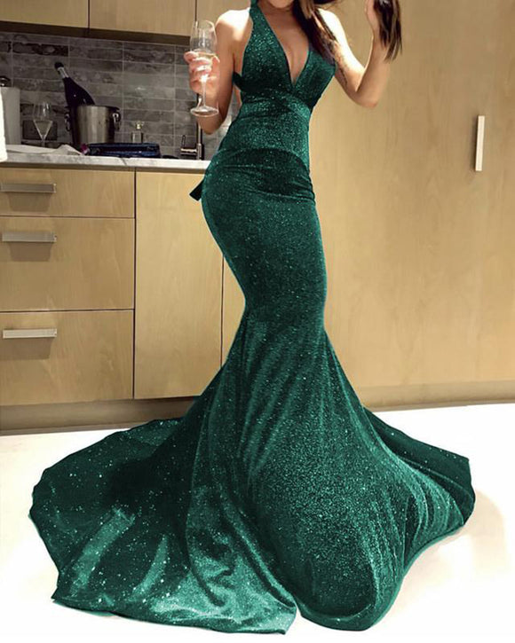 Glitter Sexy Mermaid Evening Prom Dress  Green/Blue PL6988