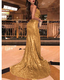 Sexy Mermaid Bling Bling Sequins Evening  Dresses Long with Split burgundy/Gold/Blue PL33650