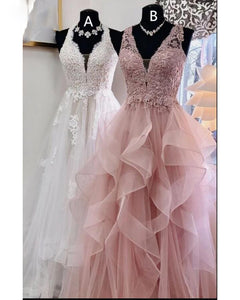 Rose Pink/White V Neck Layered Lace 2020 Girls Graduation Prom Dresses Long PL7810