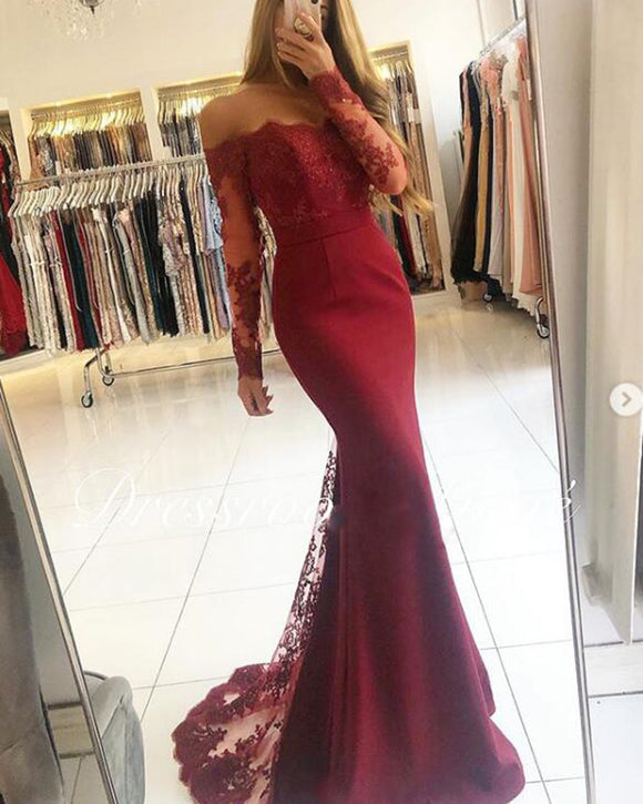 Burgundy/Blue Women Long Sleeves Lace MermaidEvening  Prom Dresses Long PL2145