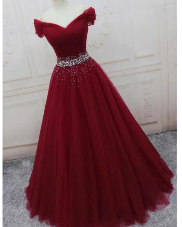 Burgundy / Bright Pink Off Shoulder Beaded Belt Long Tulle Ball Gown Prom Dresses