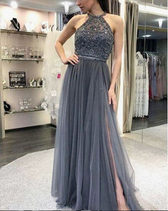 New Halter Women Gray Tulle Stones Beaded Long Prom Dresses 2020 Slit Leg  PL6321