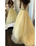 V Neck Yellow Tulle Lace Senior Girls Prom Dress 2K20 Long Formal Homecoming Gowns