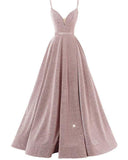 Unique Split Spaghetti Straps Long Evening Gowns Formal Party Dresses with Straps LP1141