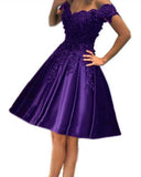 Siaroyne Dark Blue-violet Color Short Lace Homecoming Dresses Girls Graduation Prom Dresses Girls  8th Grade