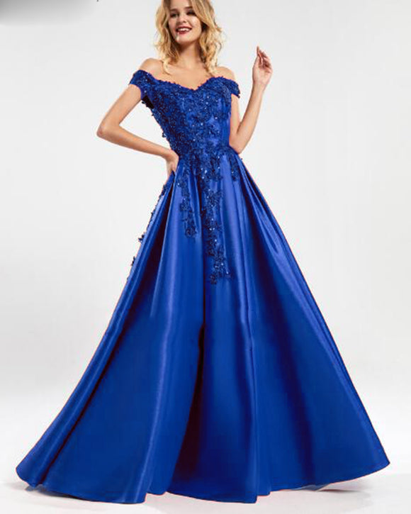 Off The Shoulder Royal Blue Lace Long Prom Evening Dress Bodice Robe De Soiree