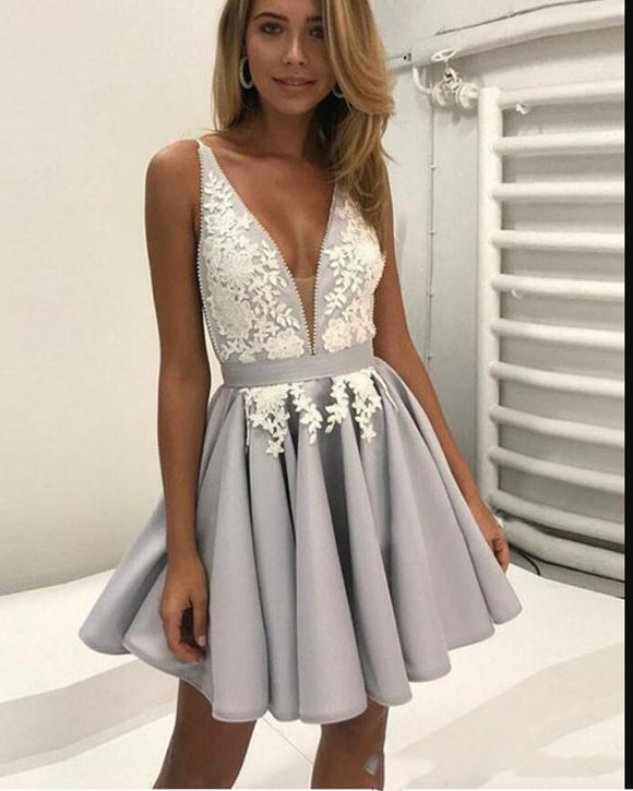 Cute V Neck Lace Gray Short Prom Gown Junior Graduation Homecoming Party Dresses for Girls SP1118