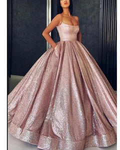 Rose Gold Ball Gown Sequins Women Evening Formal Dresses with Spaghetti Straps LP1131