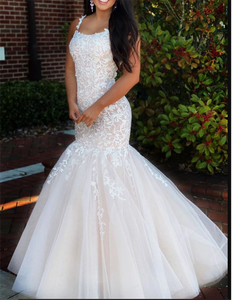 On sale Ivory/champagne Two Tune Mermaid/Trumpet Prom dresses Lace Long with Straps