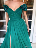 Off Shoulder 3D Handamde Flowers Women Formal Outfits Long Prom Evening Dress with Split