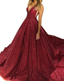 Gorgeous Burgundy /Rose Gold Sequined Prom Formal Dresses 2020 V Neck Sparkling Sequin A-line Backless Prom Party Dresses Robe De Soiree LP1221