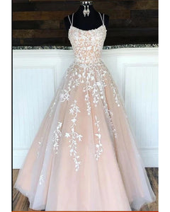 Fashion Lace up Back Long Prom Dress with Applique Lace, Long Formal Evening Dress
