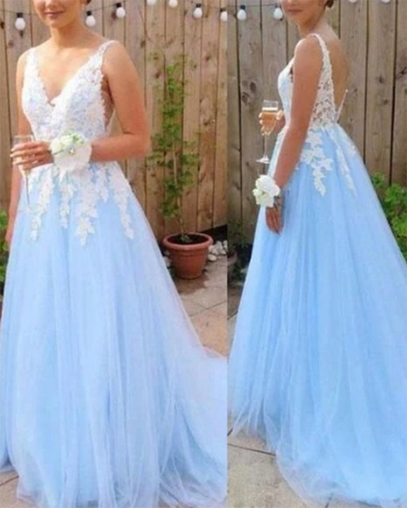 Light blue Open Back Long Prom Dress With Applique, Popular Tulle Evening Dress ,Fashion Winter Formal Dress