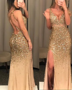Sparkly mermaid Rhinestones Prom Dresses crystal evening gowns 2020