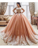 Coral Pink Ball Gown Prom Girls Sweet 16 Quinceanera Dress Wedding Gowns with Lace