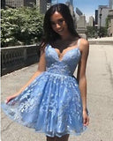 Light Blue Spaghetti Straps Short lace Prom Dress Homecoming Gown SP0316