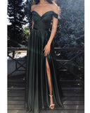 Elegant Olive Dark Green Off Shoulder Long Women Long Formal Wear Prom Dress with Sexy Split LP0317