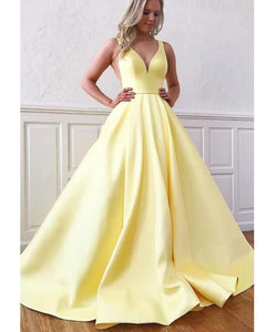 Yellow Long Satin Deep V Neck A Line Girls Formal Prom Gowns 2020 PL03311