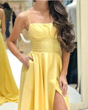 Yellow Formal Evening Gowns With Straps Girls Senior Prom Wear with High Split