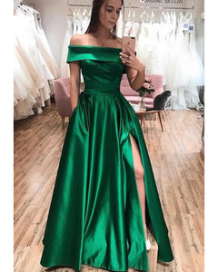 Sexy Dark Green Off The Should Satin Evening Party Dresses 2020 Vestidos with High Slit