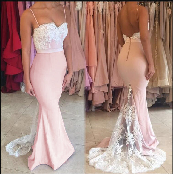 Spaghetti Mermaid Pink and White Lace Bridesmaid dress Long Evening Party Gowns