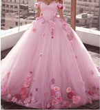 Pink/White Off Shoulder Ball Gown Floral Wedding Dress Girls Sweet 16 quinceanera Gown First Debutante Gown